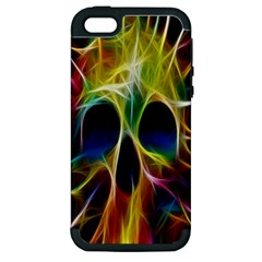 Skulls Multicolor Fractalius Colors Colorful Apple iPhone 5 Hardshell Case (PC+Silicone)