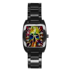 Skulls Multicolor Fractalius Colors Colorful Stainless Steel Barrel Watch