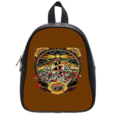 Tattoo Art Print Traditional Artwork Lighthouse Wave School Bags (small)