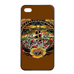 Tattoo Art Print Traditional Artwork Lighthouse Wave Apple iPhone 4/4s Seamless Case (Black)