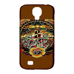 Tattoo Art Print Traditional Artwork Lighthouse Wave Samsung Galaxy S4 Classic Hardshell Case (PC+Silicone)
