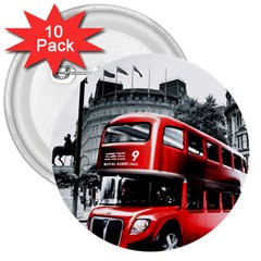 London Bus 3  Buttons (10 Pack)
