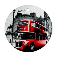 London Bus Round Ornament (two Sides)