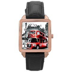 London Bus Rose Gold Leather Watch