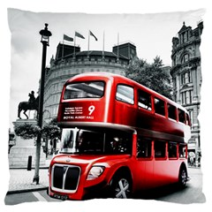 London Bus Large Flano Cushion Case (One Side)