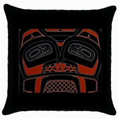 Traditional Northwest Coast Native Art Throw Pillow Case (Black)