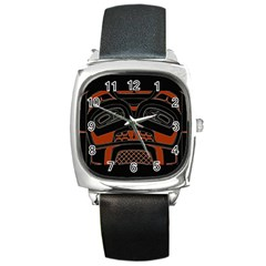Traditional Northwest Coast Native Art Square Metal Watch