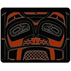 Traditional Northwest Coast Native Art Double Sided Fleece Blanket (Medium)