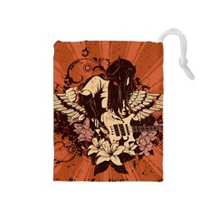 Rock Music Moves Me Drawstring Pouches (Medium)