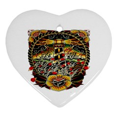 Tattoo Art Print Traditional Artwork Lighthouse Wave Heart Ornament (two Sides)