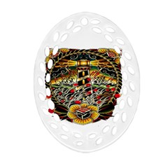 Tattoo Art Print Traditional Artwork Lighthouse Wave Oval Filigree Ornament (two Sides)