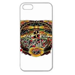 Tattoo Art Print Traditional Artwork Lighthouse Wave Apple Seamless iPhone 5 Case (Clear)