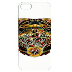 Tattoo Art Print Traditional Artwork Lighthouse Wave Apple iPhone 5 Hardshell Case with Stand