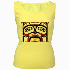 Traditional Northwest Coast Native Art Women s Yellow Tank Top
