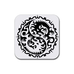 Ying Yang Tattoo Rubber Square Coaster (4 pack)
