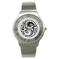 Ying Yang Tattoo Stainless Steel Watch