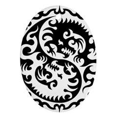 Ying Yang Tattoo Oval Ornament (Two Sides)