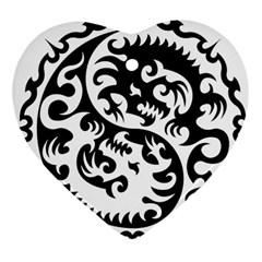 Ying Yang Tattoo Heart Ornament (two Sides)