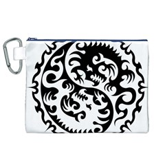 Ying Yang Tattoo Canvas Cosmetic Bag (xl)