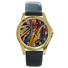 Vivid Colours Round Gold Metal Watch
