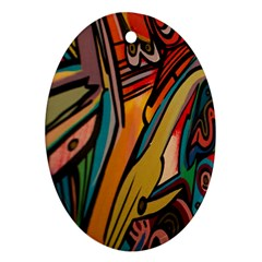 Vivid Colours Oval Ornament (two Sides)