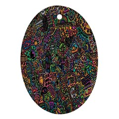 Trees Internet Multicolor Psychedelic Reddit Detailed Colors Ornament (oval)