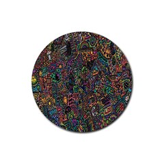 Trees Internet Multicolor Psychedelic Reddit Detailed Colors Rubber Round Coaster (4 pack)