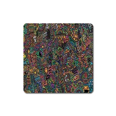 Trees Internet Multicolor Psychedelic Reddit Detailed Colors Square Magnet