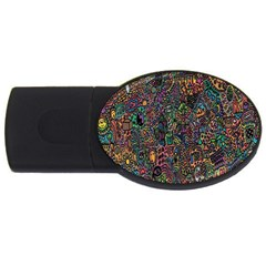 Trees Internet Multicolor Psychedelic Reddit Detailed Colors USB Flash Drive Oval (1 GB)