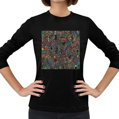 Trees Internet Multicolor Psychedelic Reddit Detailed Colors Women s Long Sleeve Dark T Shirts