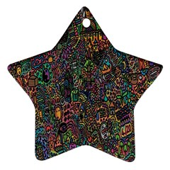 Trees Internet Multicolor Psychedelic Reddit Detailed Colors Star Ornament (Two Sides)