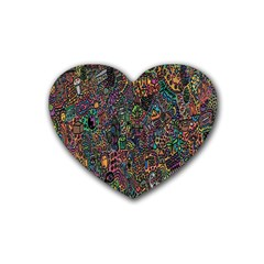 Trees Internet Multicolor Psychedelic Reddit Detailed Colors Heart Coaster (4 Pack)