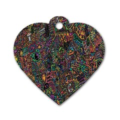 Trees Internet Multicolor Psychedelic Reddit Detailed Colors Dog Tag Heart (One Side)