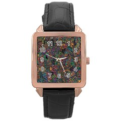 Trees Internet Multicolor Psychedelic Reddit Detailed Colors Rose Gold Leather Watch