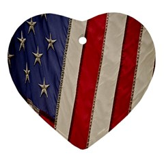 Usa Flag Heart Ornament (two Sides)