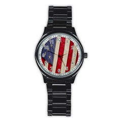 Usa Flag Stainless Steel Round Watch