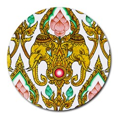 Traditional Thai Style Painting Round Mousepads