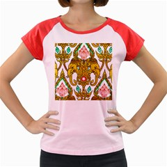 Traditional Thai Style Painting Women s Cap Sleeve T-Shirt