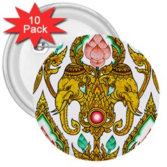 Traditional Thai Style Painting 3  Buttons (10 pack)
