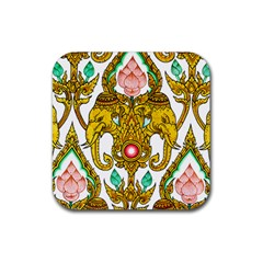 Traditional Thai Style Painting Rubber Square Coaster (4 pack)