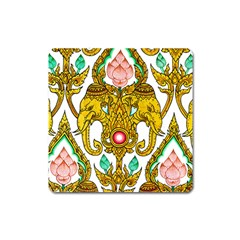 Traditional Thai Style Painting Square Magnet