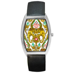 Traditional Thai Style Painting Barrel Style Metal Watch