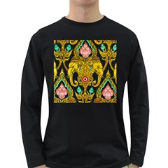 Traditional Thai Style Painting Long Sleeve Dark T Shirts