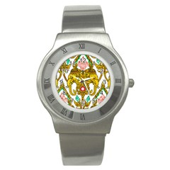 Traditional Thai Style Painting Stainless Steel Watch