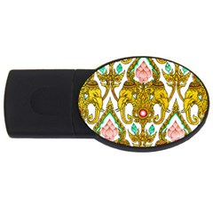 Traditional Thai Style Painting USB Flash Drive Oval (4 GB)