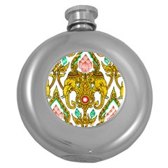 Traditional Thai Style Painting Round Hip Flask (5 oz)