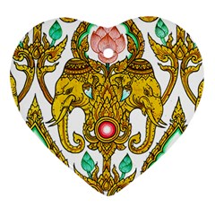 Traditional Thai Style Painting Heart Ornament (Two Sides)