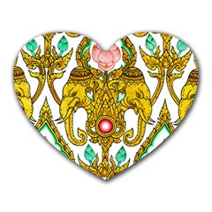Traditional Thai Style Painting Heart Mousepads
