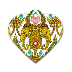 Traditional Thai Style Painting Dog Tag Heart (One Side)
