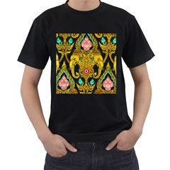 Traditional Thai Style Painting Men s T-Shirt (Black)